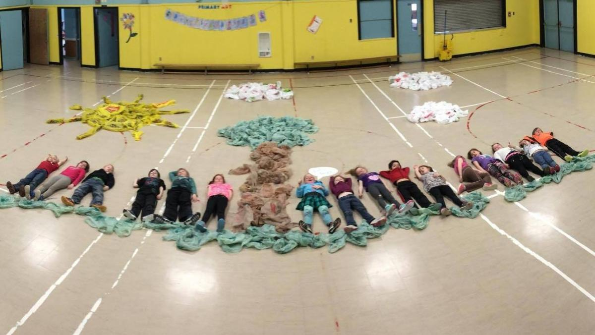 Chiganois Elementary in Debert, Nova Scotia demonstrate the link between humans and the environement.